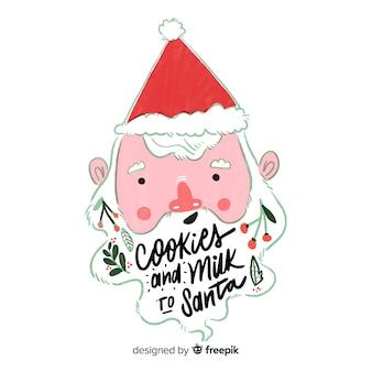 Nettes weihnachtszitat mit hand gezeichnetem sankt-charakter