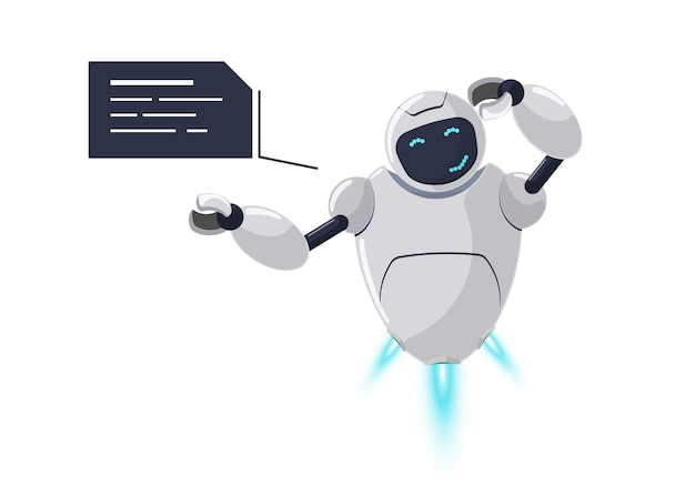 Nettes weißes fliegendes roboter-charakterdenken. futuristische chatbot-maskottchen-verlegenheit mit sprechblase. tech-cartoon verwirrter online-bot. roboter-ki-unterstützung spricht über mentale aktivitätsgefühle. vektor-eps