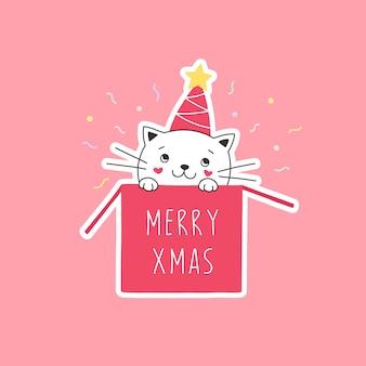 Nettes weißes kätzchen in einer schachtel frohe weihnachten