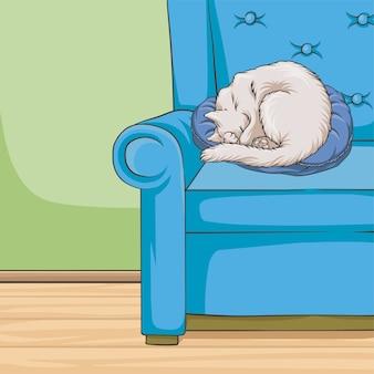 Nettes weißes katzenhaustiertier, das auf einem blauen sessel, rauminnenraumartartarthaushausillustration schläft