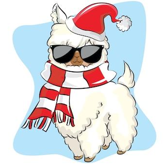 Nettes weißes lama und gezeichnete illustration der weihnachtsmütze.
