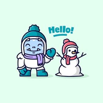 Nettes weisses yeti monster, das mit einem schneemann spielt und hallo sagt