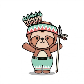 Nettes wenig sloth native american animal mascot character design