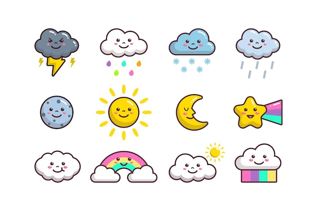 Nettes wolkenwetter, sonne, mond, stern, planet und regenbogen