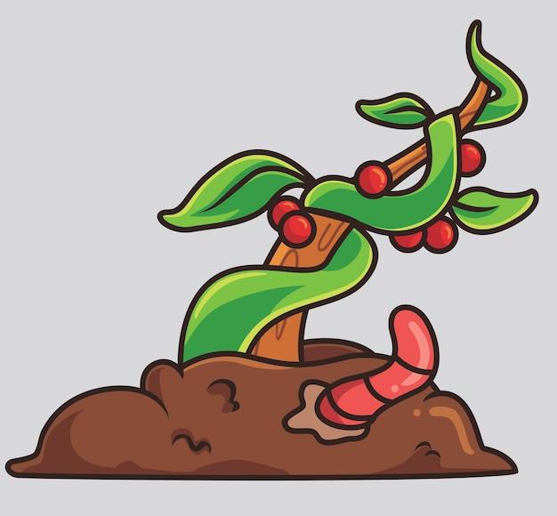 Nettes wurmdüngerfruchtpflanzenkarikaturtiernaturkonzept lokalisierte illustration flache art