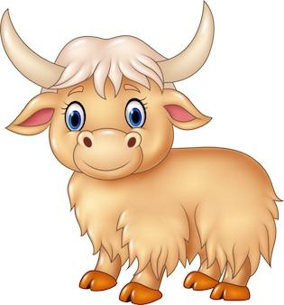 Nettes yak der karikatur lokalisiert auf weißem hintergrund
