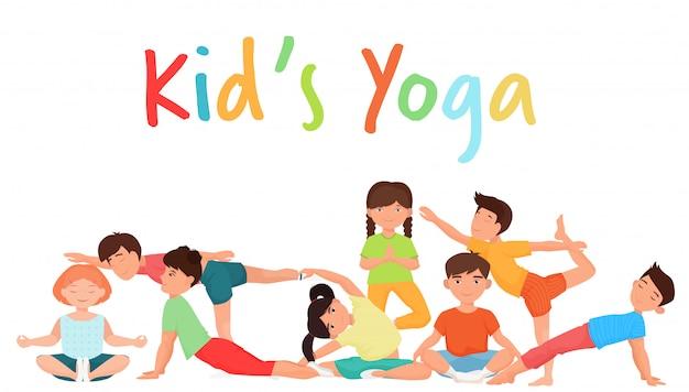 Nettes yoga scherzt gruppe