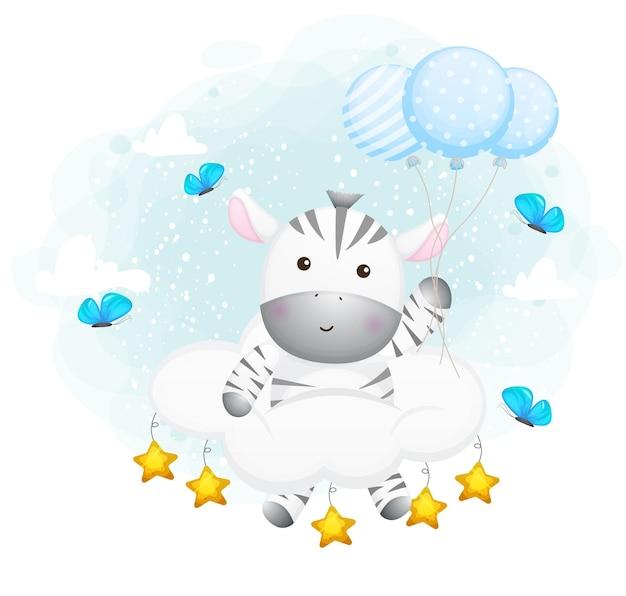 Nettes zebra, das auf der luft mit wolke schwimmt