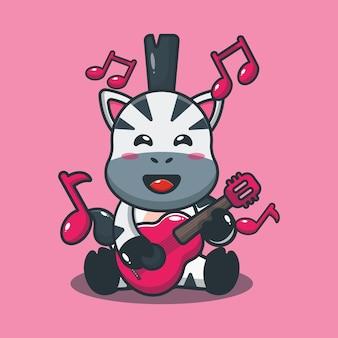 Nettes zebra, das gitarrenkarikaturillustration spielt