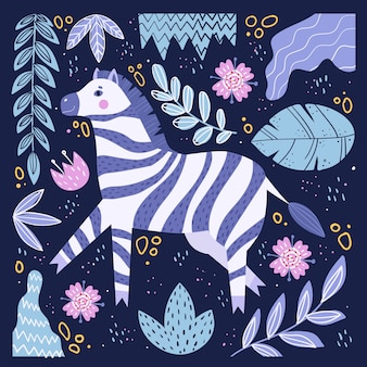 Nettes zebra im karikaturstil.