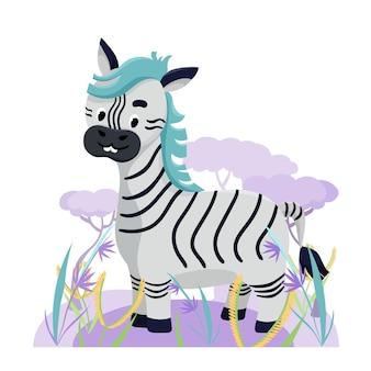 Nettes zebra in afrika mit blumen und gras auf weißem hintergrund. vektor-illustration
