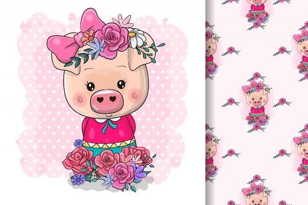 Nettes zeichnendes piggy mädchen lokalisiert auf einem rosa hintergrund