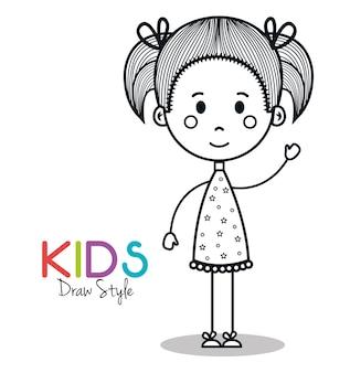 Nettes Zeichnungsvektor-Illustrationsdesign des kleinen Mädchens
