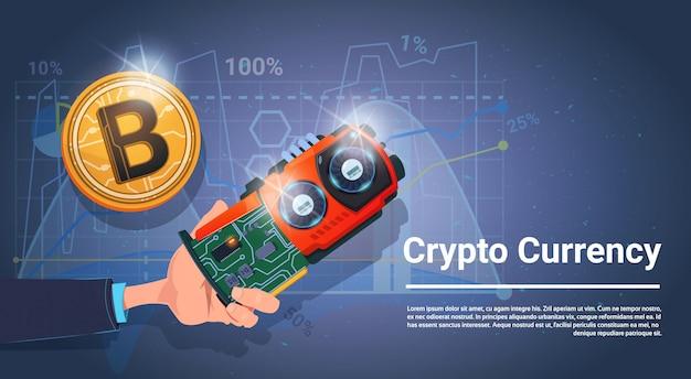 Netz-geld-bitcoin-krypto-währungs-konzept-fahne mit kopienraum