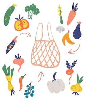 Netz- oder netzbeutel mit gemüse und obst. frisches obst, gemüse kaufen.