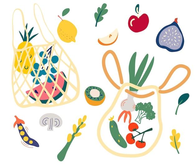 Netzbeutel mit lebensmitteln set von trendigem öko-shopper mit obst und gemüse lokales marktkonzept