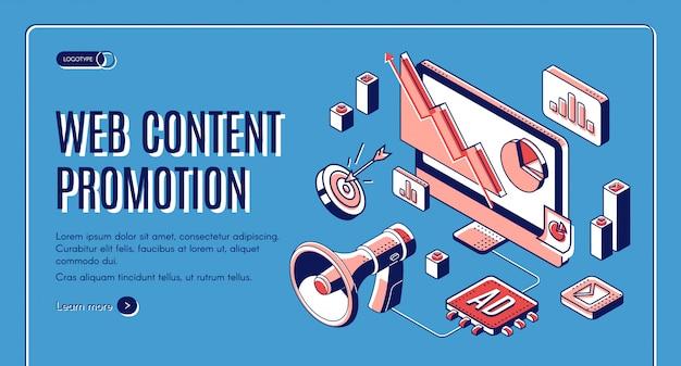 Netzfahne der social media-förderung des netzinhalts, digitales marketing, e-commerce, datenanalysewerkzeug, lautsprecher