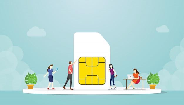 Netztechnologie-internet-telefon der sim-karte 5g mit moderner flacher art und leute benutzen smartphone -