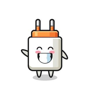 Netzteil-cartoon-figur, die eine wellenhandgeste macht, süßes design