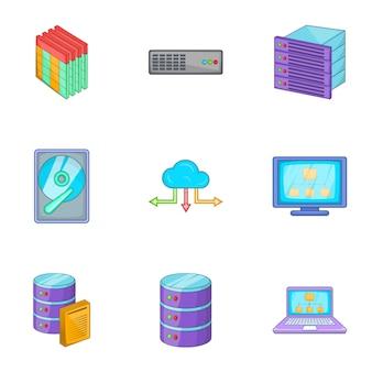Netzwerk icons set, cartoon-stil