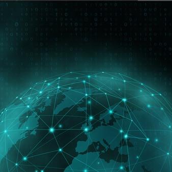 Netzwerk- und datenaustausch über der erde