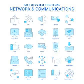 Netzwerk und kommunikation blue tone icon pack