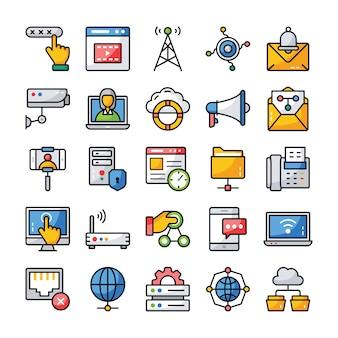 Netzwerk- und kommunikations-icons pack