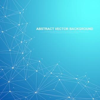 Netzwerk verbinden technologie abstraktes konzept. globale netzwerkverbindungen mit punkt- und linienhintergrund