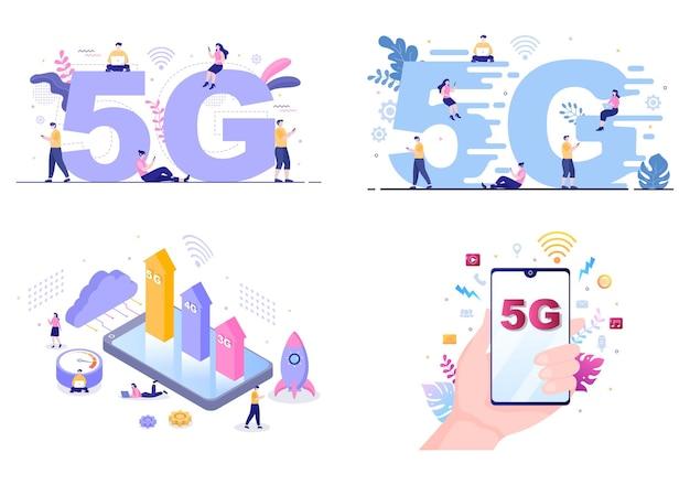 Netzwerk-wireless-technologie smartphone-vektor-illustration