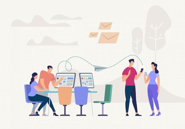 Netzwerkbeziehung. soziale teamwork-technologie.