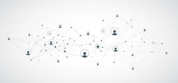 Netzwerkhintergrundverbindungen mit punktlinien und personensymbolen vektor-illustration