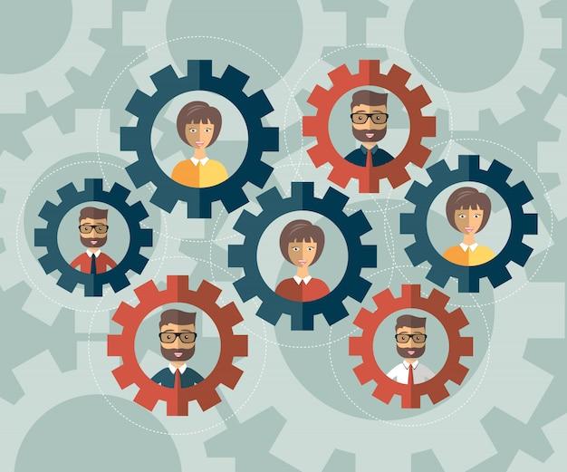 Netzwerkkommunikation mit menschen avatare in cogs