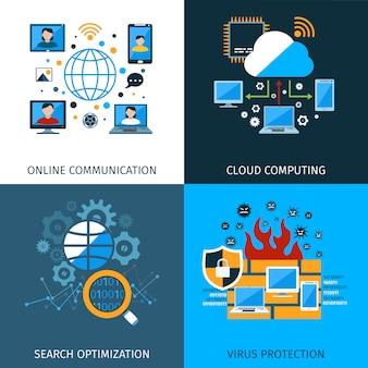 Netzwerksicherheit Konzept Set