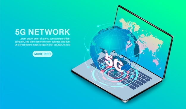 Netzwerktechnologie hochgeschwindigkeit auf computer-laptop isometrisch