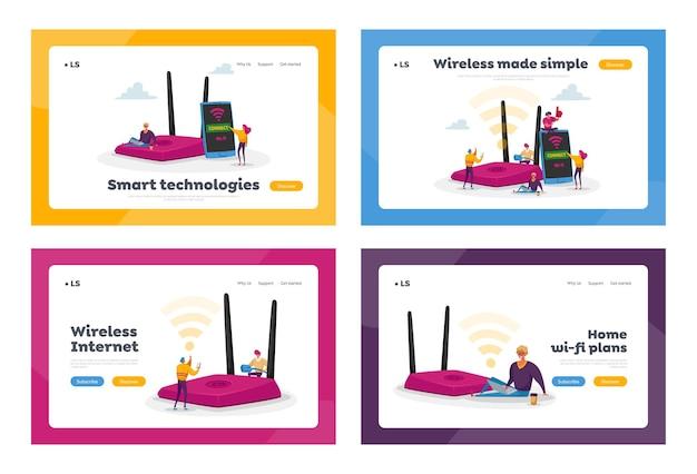 Netzwerktechnologie, kostenloses wlan-hotspot-landingpage-vorlagenset