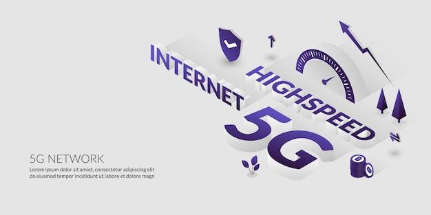 Netzwerkverbindung, die ultrahochgeschwindigkeits-internet-technologie mit 3d-text