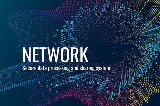 Netzwerkverbindungstechnologie-vorlagenvektor in dunkelblauem ton
