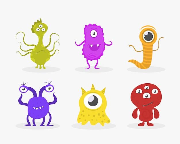 Neuartige coronavirus-bakterien 2019-ncov. cartoon-bakterien, keime, viren und mikroben. satz lustige cartoon-monster mit verschiedenen emotionen. lustige charaktersammlung.