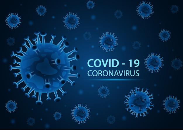 Neuartiges coronavirus (2019-ncov) auf blauem hintergrund. illustration