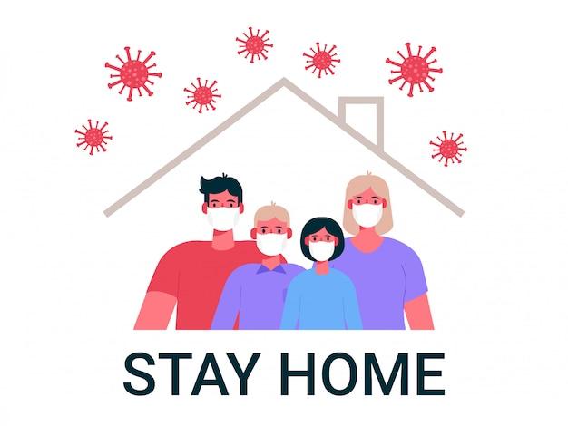 Neuartiges coronavirus 2019-ncov. familie mit medizinischer schutzmaske