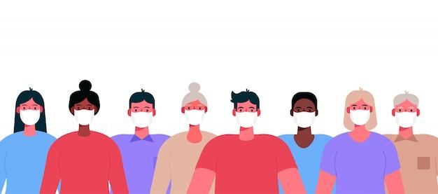 Neuartiges coronavirus 2019-ncov. gruppe von menschen, erwachsenen, alten menschen, die weiße medizinische gesichtsmasken tragen