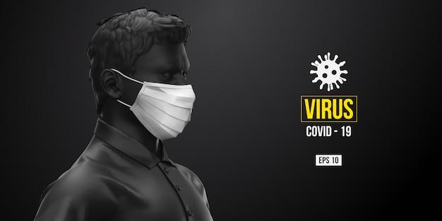 Neuartiges coronavirus covid-2019. mann in der schwarzen farbe in der weißen maske auf einem schwarzen hintergrund.