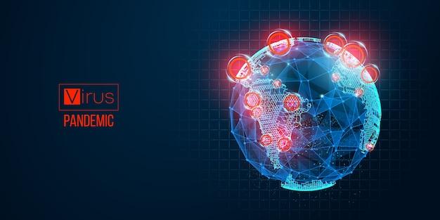 Neuartiges coronavirus, epidemie verbreitet nach land auf blauem hintergrund. welt.