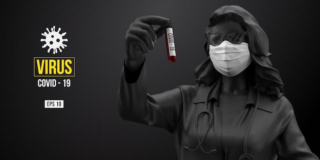 Neuartiges coronavirus. frau in der schwarzen farbe in der weißen maske auf einem schwarzen hintergrund.