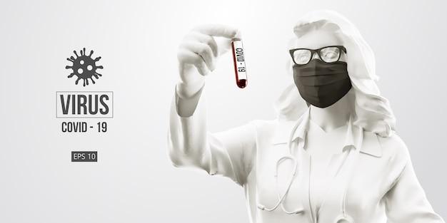 Neuartiges coronavirus. frau mit schwarzer maske auf schwarzem hintergrund.