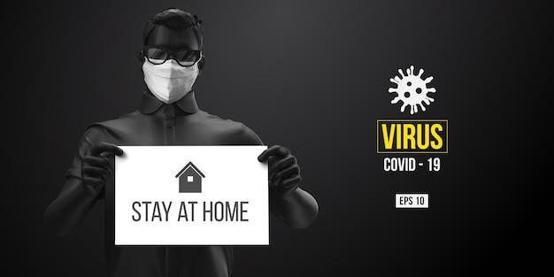 Neuartiges coronavirus. mann in der schwarzen farbe in der weißen maske auf einem schwarzen hintergrund. bleib zuhause. von zuhause aus arbeiten. medizinische maske und virenschutz.