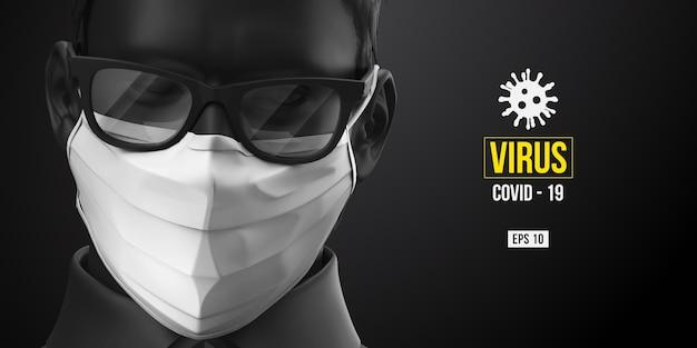 Neuartiges coronavirus. mann in der schwarzen farbe in der weißen maske auf einem schwarzen hintergrund. medizinische maske und virenschutz.