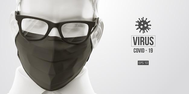 Neuartiges coronavirus. mann mit schwarzer maske auf schwarzem hintergrund. medizinische maske und virenschutz.