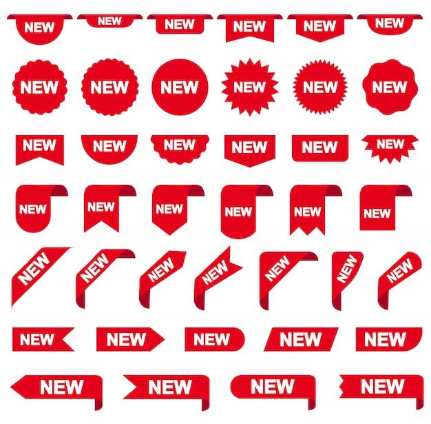 Neue aufkleberbandfahnen, schablonensatz. leerzeichen für dekorationsgraphik. vektor-illustration