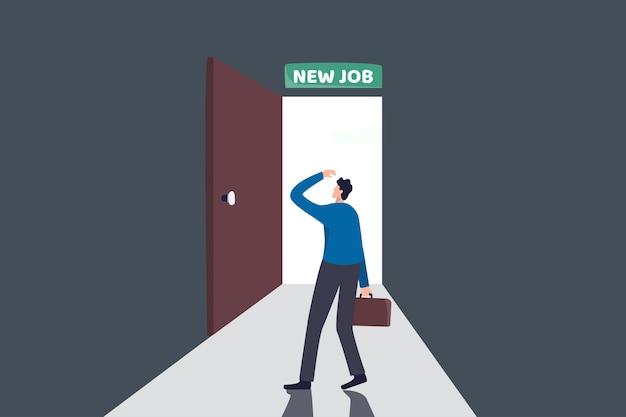 Neue berufliche herausforderung, entscheidung für neue möglichkeiten im arbeits- oder karriereentwicklungskonzept Premium Vektoren